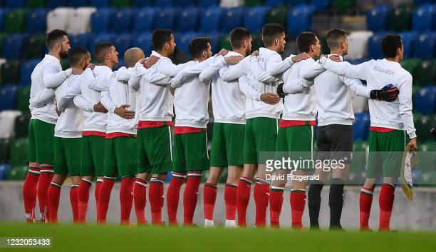 Belfast , United Kingdom - 31 March 2021; Bulgaria players stand for their national anthem prior to the FIFA World Cup 2022 qualifying group C match...