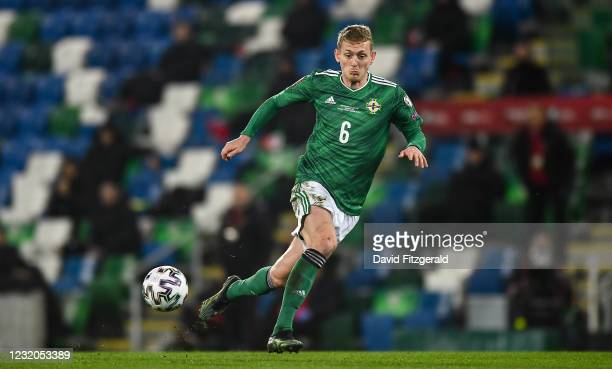 Belfast , United Kingdom - 31 March 2021; George Saville of Northern Ireland during the FIFA World Cup 2022 qualifying group C match between Northern...