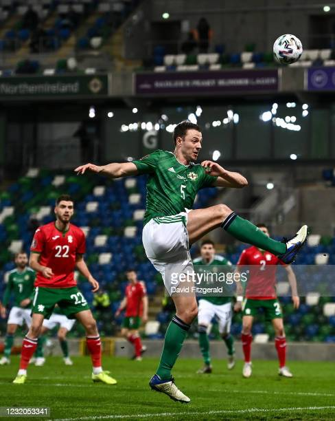 Belfast , United Kingdom - 31 March 2021; Jonny Evans of Northern Ireland during the FIFA World Cup 2022 qualifying group C match between Northern...
