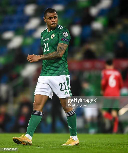 Belfast , United Kingdom - 31 March 2021; Josh Magennis of Northern Ireland during the FIFA World Cup 2022 qualifying group C match between Northern...