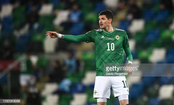 Belfast , United Kingdom - 31 March 2021; Kyle Lafferty of Northern Ireland during the FIFA World Cup 2022 qualifying group C match between Northern...