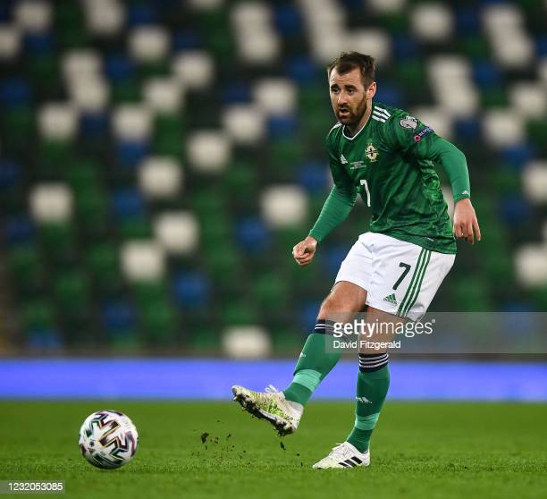 Belfast , United Kingdom - 31 March 2021; Niall McGinn of Northern Ireland during the FIFA World Cup 2022 qualifying group C match between Northern...