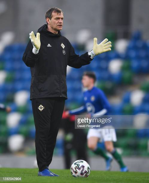 Belfast , United Kingdom - 31 March 2021; Northern Ireland goalkeeping coach Roy Carroll prior to the FIFA World Cup 2022 qualifying group C match...