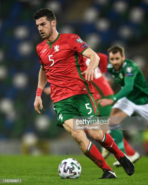Belfast , United Kingdom - 31 March 2021; Petar Vitanov of Bulgaria during the FIFA World Cup 2022 qualifying group C match between Northern Ireland...