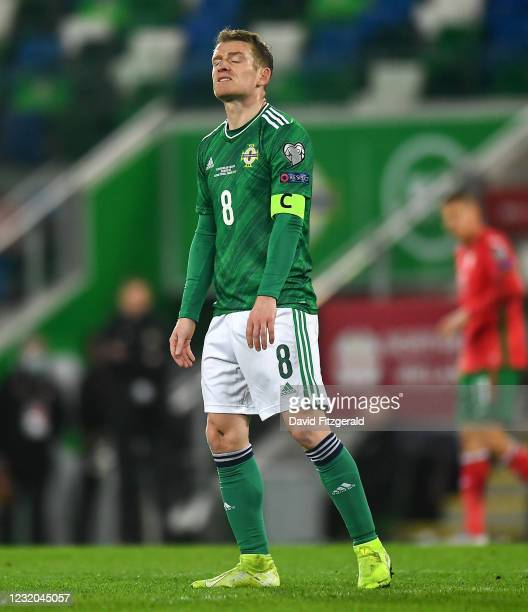 Belfast , United Kingdom - 31 March 2021; Steven Davis of Northern Ireland reacts during the FIFA World Cup 2022 qualifying group C match between...