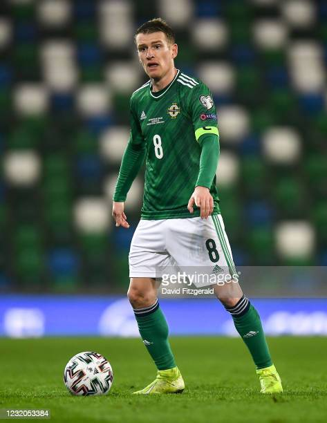 Belfast , United Kingdom - 31 March 2021; Steven Davis of Northern Ireland during the FIFA World Cup 2022 qualifying group C match between Northern...