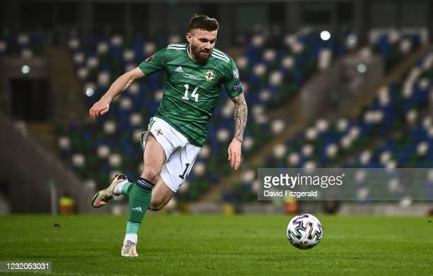 Belfast , United Kingdom - 31 March 2021; Stuart Dallas of Northern Ireland during the FIFA World Cup 2022 qualifying group C match between Northern...