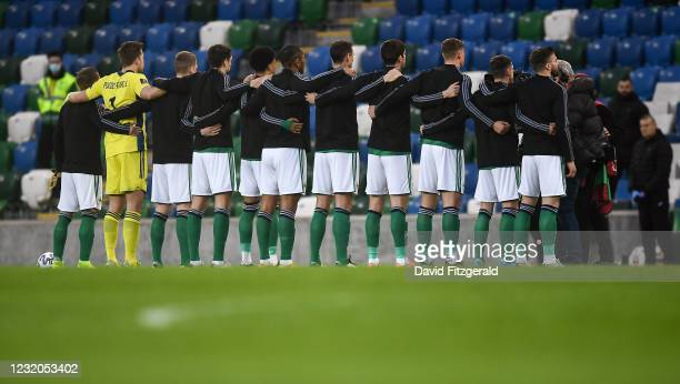 Belfast , United Kingdom - 31 March 2021; The Northern Ireland team stand for their national anthem prior to the FIFA World Cup 2022 qualifying group...