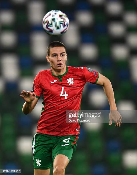 Belfast , United Kingdom - 31 March 2021; Valentin Antov of Bulgaria during the FIFA World Cup 2022 qualifying group C match between Northern Ireland...