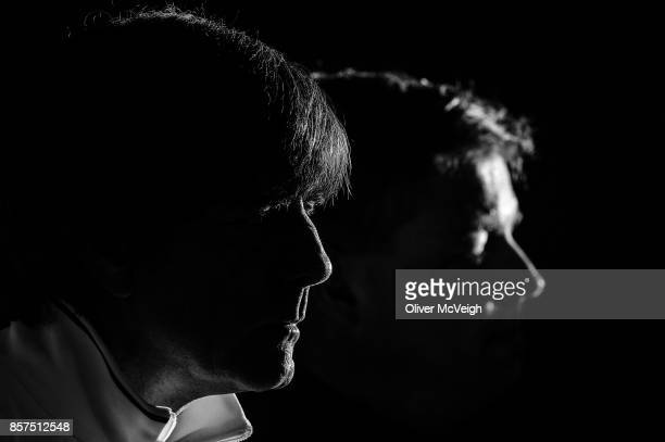 Belfast United Kingdom 4 October 2017 Germany Football coach Joachim Low during a Germany press conference at Windsor Park in Belfast