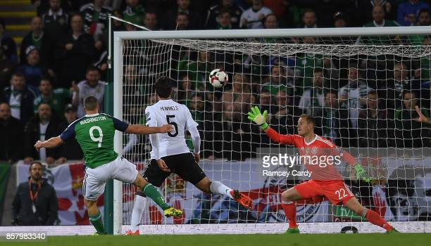 Belfast United Kingdom 5 October 2017 Conor Washington of Northern Ireland shoots at goal during the FIFA World Cup Qualifier Group C match between...
