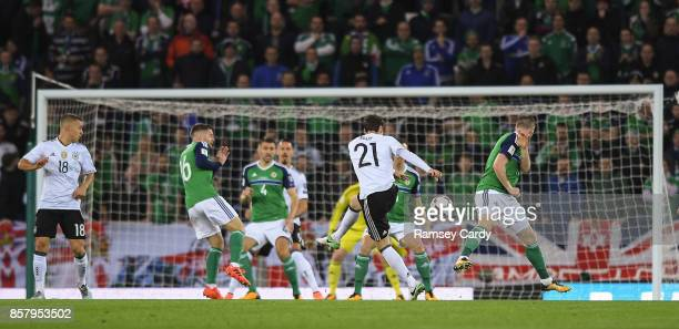 Belfast United Kingdom 5 October 2017 Sebastian Rudy of Germany shoots to score his side's first goal of the game during the FIFA World Cup Qualifier...