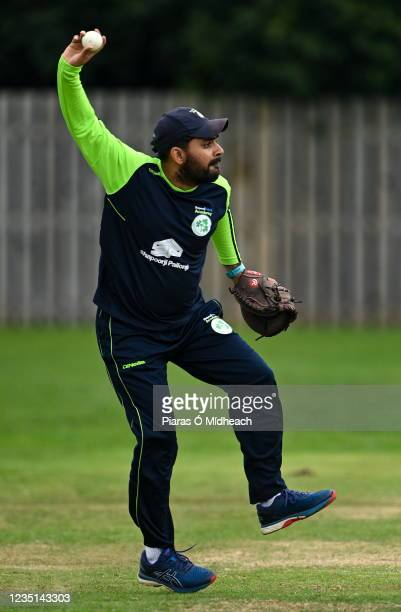 Belfast , United Kingdom - 6 September 2021; Ireland Wolves performance analyst Jay Shelat before the one day match between Ireland Wolves and...