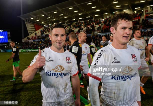 Belfast United Kingdom 7 December 2019 John Cooney of Ulster left who scored the winning penalty in the closing stages along with teammate Billy...