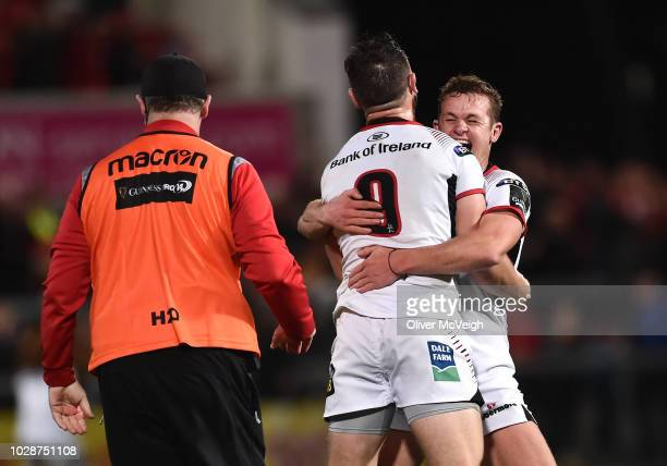 Belfast United Kingdom 7 September 2018 John Cooney of Ulster celebrates with teammate Billy Burns after kicking a match winning penalty in injury...