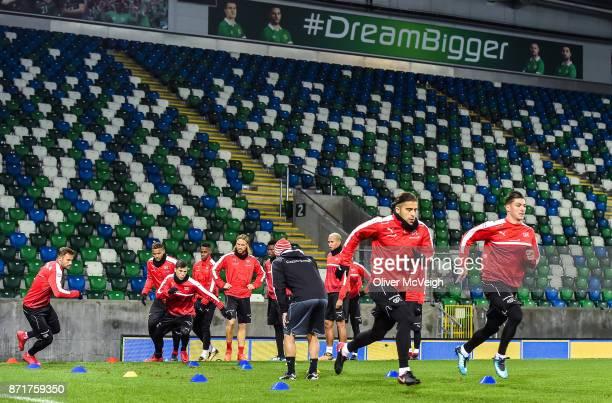 Belfast United Kingdom 8 November 2017 A general view during Switzerland squad training at Windsor Park in Belfast
