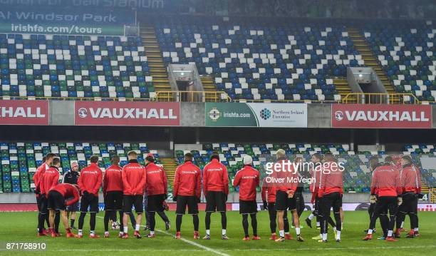 Belfast United Kingdom 8 November 2017 A general view of the players during Switzerland squad training at Windsor Park in Belfast
