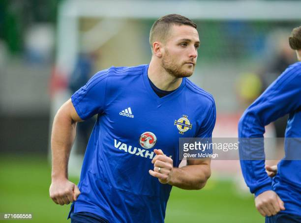 Belfast United Kingdom 8 November 2017 Conor Washington during Northern Ireland squad training at Windsor Park in Belfast
