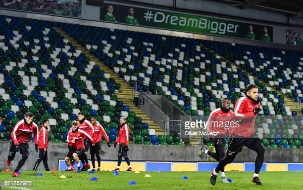 Belfast United Kingdom 8 November 2017 Ricardo Rodríguez during Switzerland squad training at Windsor Park in Belfast