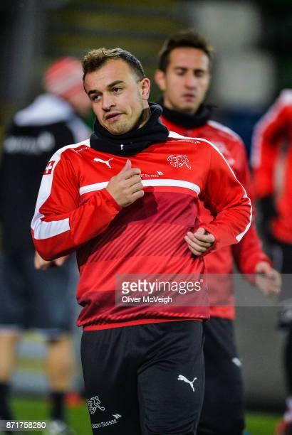 Belfast United Kingdom 8 November 2017 Xherdan Shaqiri during Switzerland squad training at Windsor Park in Belfast