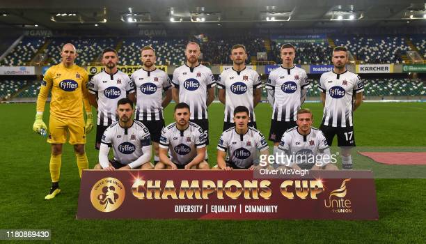 Belfast , United Kingdom - 8 November 2019; The Dundalk team before the Unite the Union Champions Cup first leg match between Linfield and Dundalk at...