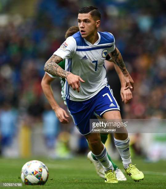 Belfast United Kingdom 8 September 2018 Muhamed Bei of Bosnia and Herzegovina during the UEFA Nations League B Group 3 match between Northern Ireland...