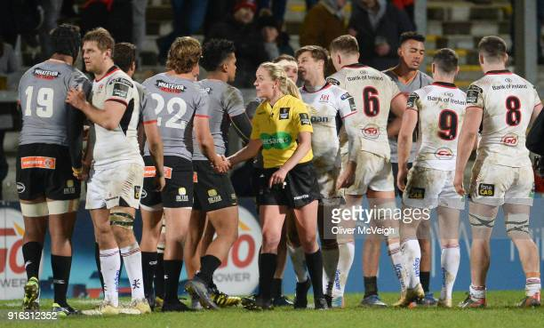 Belfast United Kingdom 9 February 2018 Referee Joy Neville after the Guinness PRO14 Round 14 match between Ulster and Southern Kings at Kingspan...