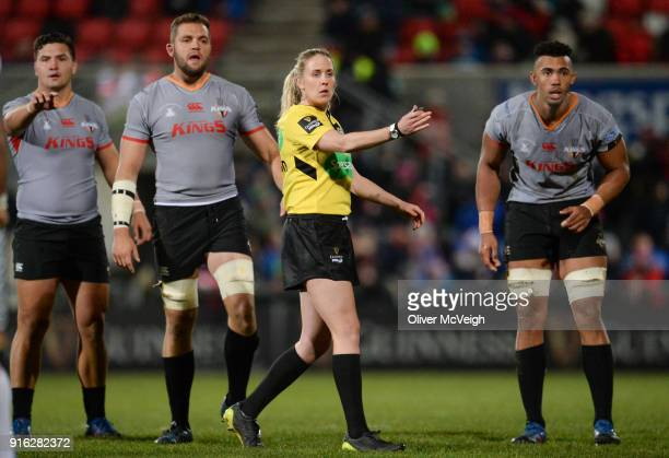 Belfast United Kingdom 9 February 2018 Referee Joy Neville during the Guinness PRO14 Round 14 match between Ulster and Southern Kings at Kingspan...