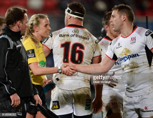 Belfast United Kingdom 9 February 2018 Referee Joy Neville shakes hands with Darren Cave of Ulster after the Guinness PRO14 Round 14 match between...