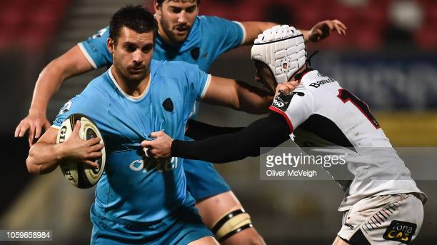 Belfast United Kingdom 9 November 2018 Andrés Vilaseca of Uruguay in action against Iwan Hughes of Ulster during the International Rugby match...