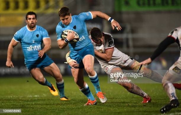 Belfast United Kingdom 9 November 2018 Leandro Leivas of Uruguay in action against Alex Thompson of Ulster during the International Rugby match...