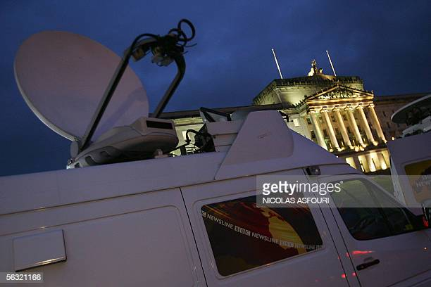 Television vans are parked outside Stormont Parliament Building ahead of the late George Best Funeral in Belfast Northern Ireland 02 December 2005...