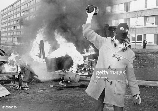 Masked Protester on Riot Torn Street 1981 | Location Belfast