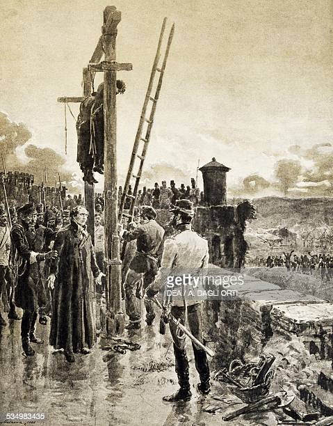 Belfiore martyrs in 1852 woodcut by Edoardo Matania from Scenes of the Italian Risorgimento Treves 1890 Italy 19th century Bologna Museo Civico Del...
