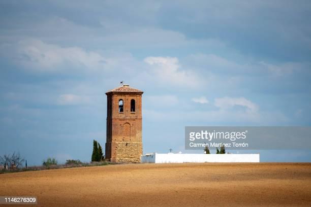belfry in village quintanilla de la cueza in northern spain. - castilla la mancha fotografías e imágenes de stock
