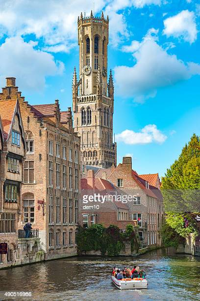 belfry tower in brugge - bell tower tower stock pictures, royalty-free photos & images