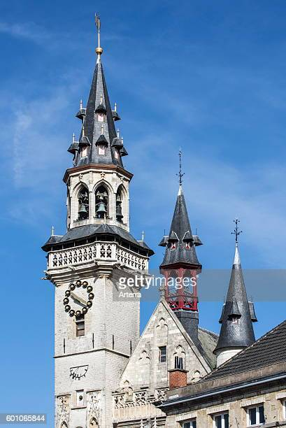 Belfry tower with carillon and turrets of the Schepenhuis / Aldermen's House former city hall at Aalst / Alost Flanders Belgium