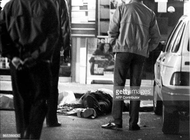 Belga file picture of the body of a man killed during an HoldUp at Overijse in September 27 1985 / AFP PHOTO / BELGA / STRINGER