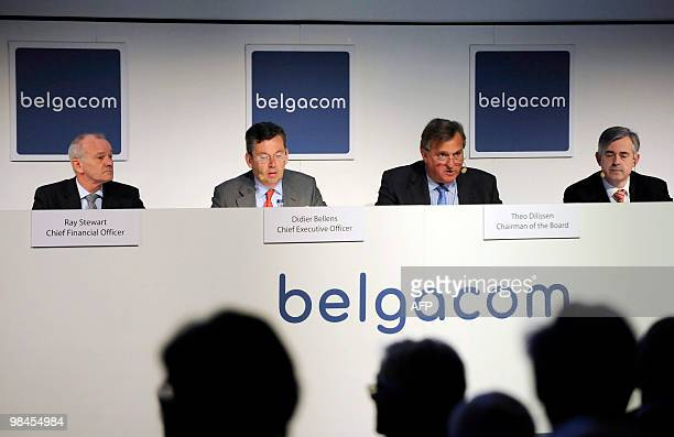Belgacom CFO Ray Stewart, Belgacom CEO Didier Bellens, Chairman of the Board of Directors of Belgacom Theo Dilissen and Belgacom Secretary General...