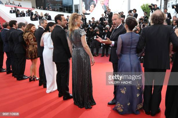 Belgian actor Benoit Poelvoorde poses with French actress Marina Fois French actor Guillaume Canet French actress Leila Bekhti French director Gilles...