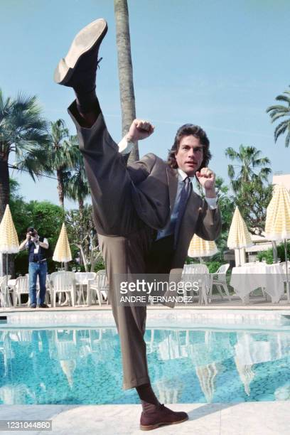 Belgian actor, filmmaker, fight choreographer and retired martial artist and Hollywood celebrity Jean-Claude Van Damme shows his famous kick on may...