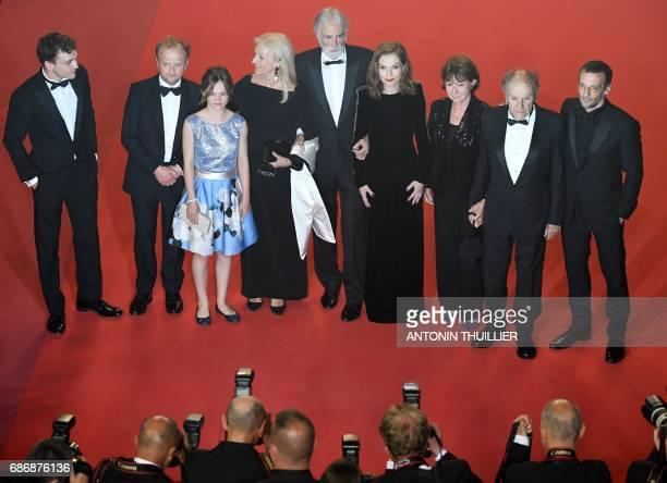 Belgian actor Franz Harduin British actor Toby Jones Belgian actress Fantine Harduin Austrian director Michael Haneke and his wife Susi Haneke French...