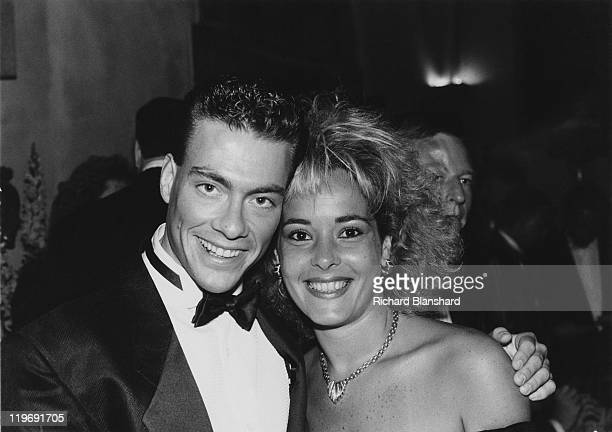 Belgian actor JeanClaude Van Damme at the Cannes Film Festival France with his wife circa 1985