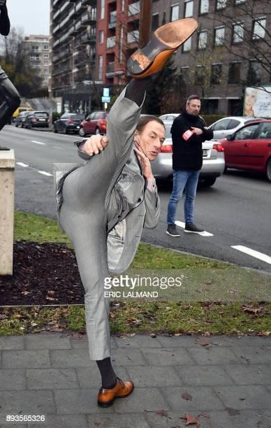 Belgian actor JeanClaude Van Damme performs a karate kick during the European promotion tour of the new Amazon serie JeanClaude Van Johnson on...