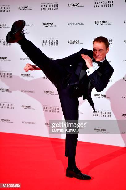Belgian actor JeanClaude Van Damme poses during a photocall for the world launch of the Amazon Prime series 'JeanClaude Van Johnson' on December 12...