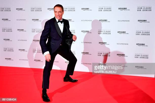 Belgian actor JeanClaude Van Damme poses during a photocall for the world launch of the Amazon Prime series JeanClaude Van Johnson on December 12 at...