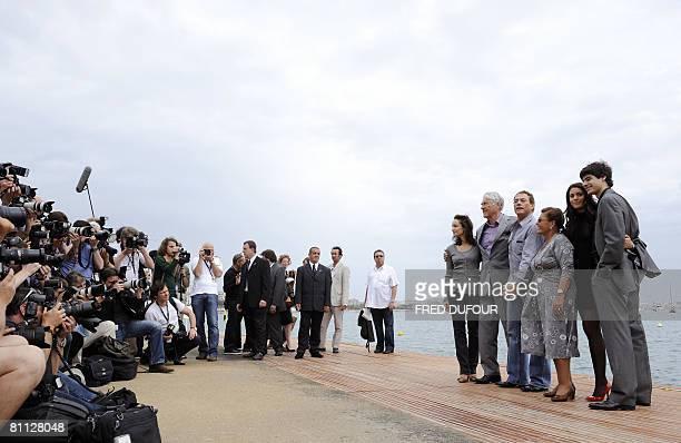 Belgian actor JeanClaude Van Damme poses with his family his wife Gladys Portugues father Eugene Van Varenberg mother Eliana Van Varenberg daughter...