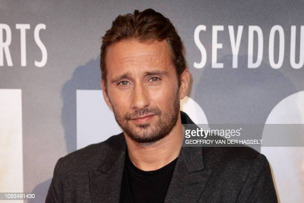 Belgian actor Matthias Schoenaerts poses on the red carpet prior to the premiere of the movie 'Kursk' at La Cite Du Cinema on October 25 2018 in...