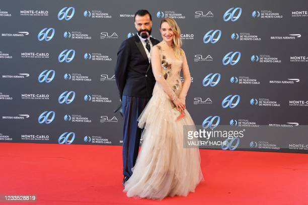 Belgian actress Deborah Francois and French fashion designer Julien Fournie pose during the opening ceremony of the 60th Monte-Carlo Television...