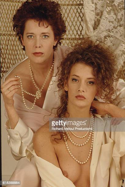 Belgian actress Sylvia Kristel who plays the older Emmanuelle and Venezuelan actress Marcela Walerstein who plays Young Emmanuelle in the French TV...
